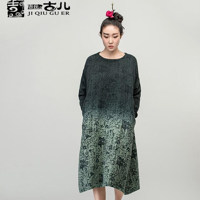 Jiqiuguer Brand women's vintage long-sleeve o-neck gradient color dresses medium-long print one-piece dress L153Y013
