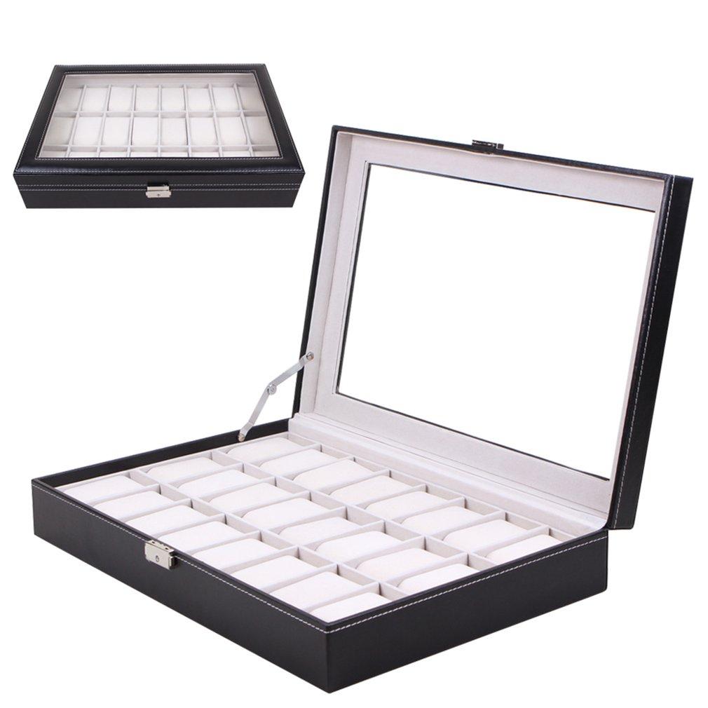 Watch Display Box 24 Grid Wristwatch Storage Case Organizer Black Leather