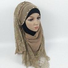 Muslim Scarves Woman Hijab Solid Color Beading Pearl Decoration Shining Chiffon Silk Popular Shawls Scarf Headband Free Shipping