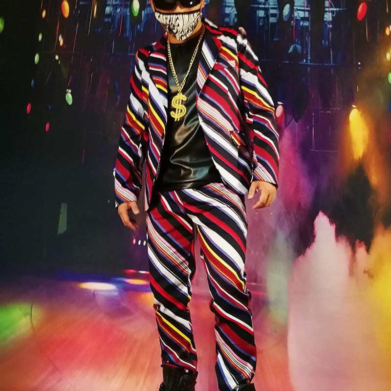 2018 M-6xl!////obliqua Di Colore A Righe Di Visual Vestito Cantante Di Nightclub Bar Djdsgogo Capelli Credenze.