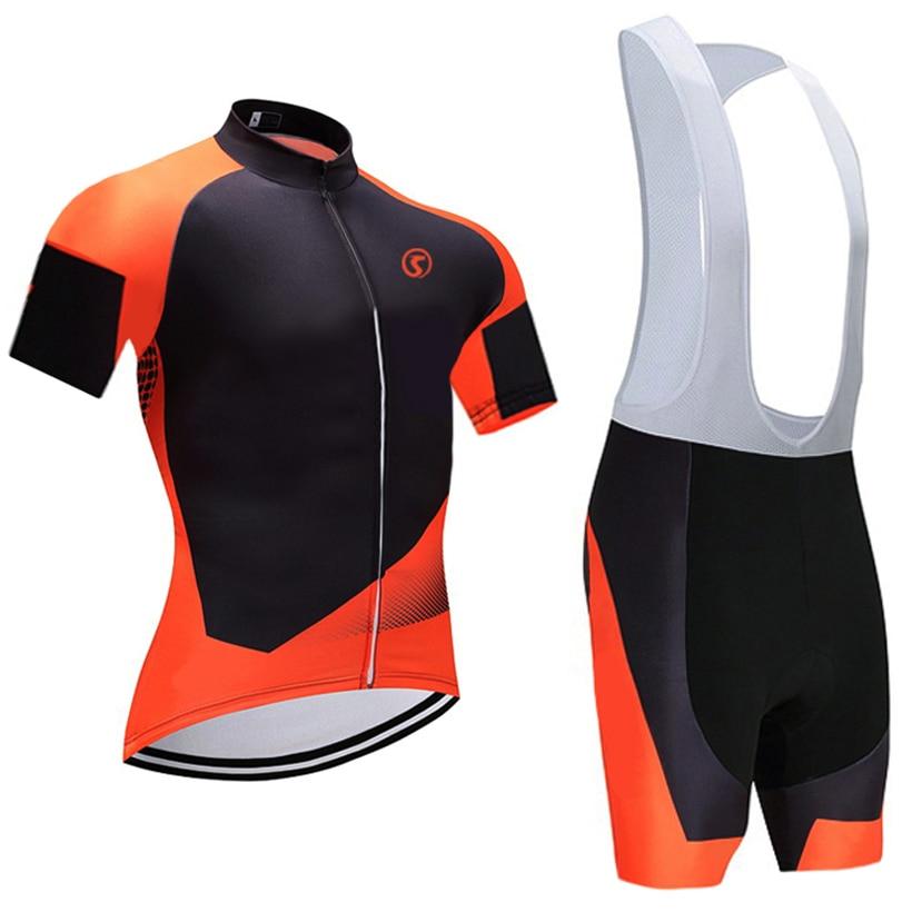 2018 naranja pro ciclismo Jersey 9D gel pad bike shorts set ropa ciclismo Quick seco Racing Team ciclismo maillots culotte
