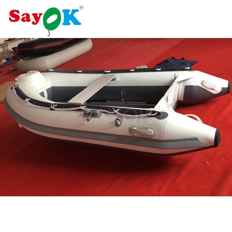 Hypalon Gonflable bateau rouge gonflable bateau de pêche en aluminium de plancher, gonflable bateau de sauvetage pour vente