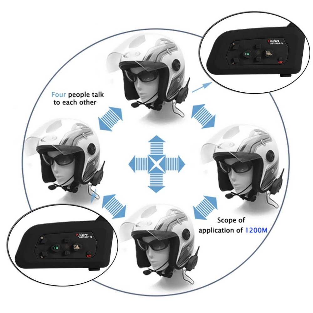 High Quality V4-1200M Bluetooth Motorcycle Helmet Interphone 4 Riders BT Walkie Talkie For Skiing Cycling Helmet promotion 5pcs embroidery cotton baby nursery cot crib bedding set bumper for boy 4bumper bed cover