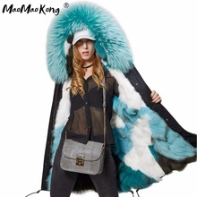 new fashion women luxurious Large raccoon fur collar hooded coat warm Fox fur liner parkas long winter jacket top quality