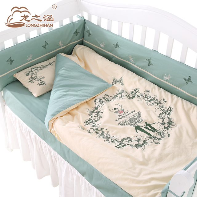 Baby Bedding Sets For Cots Cotton Brand 8pcs Infant Crib Bedding Set Bumper Embroidery Boy and Girl Quilt Bed Sheet