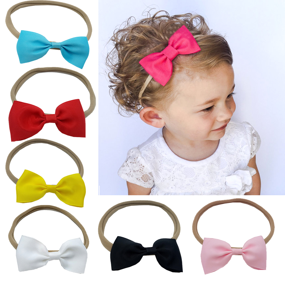 10pcs/Lot Kids Girls Nylon Hairbands Bowknot Headwear Elastic Headbands Lovely Princess Baby Girls Hair Band Accessories цена