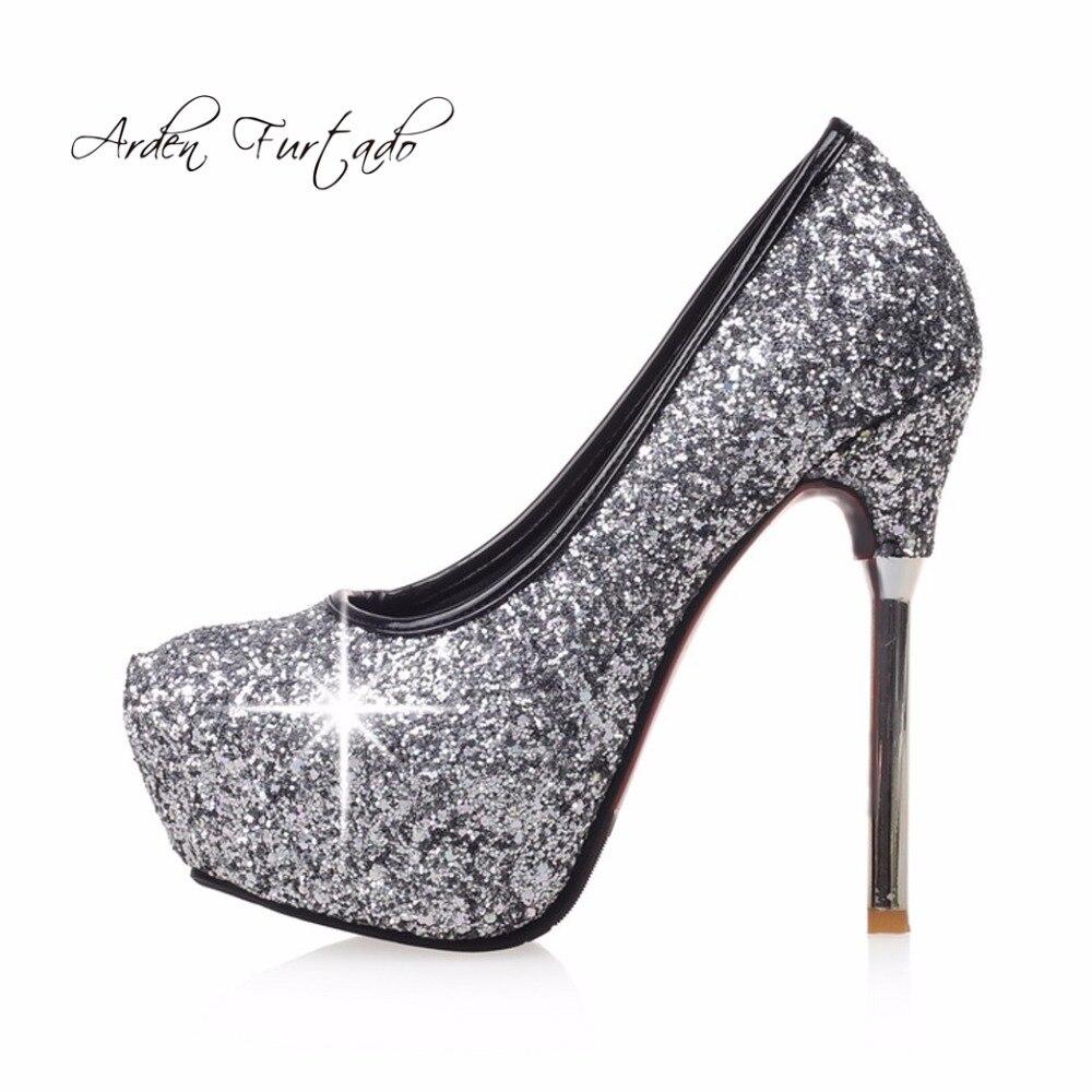 8ef4645a18b Arden Furtado 2018 spring autumn high heels stilettos silver pink brand  slip on fashion pumps platform wedding shoes bigs szie -in Women s Pumps  from Shoes ...