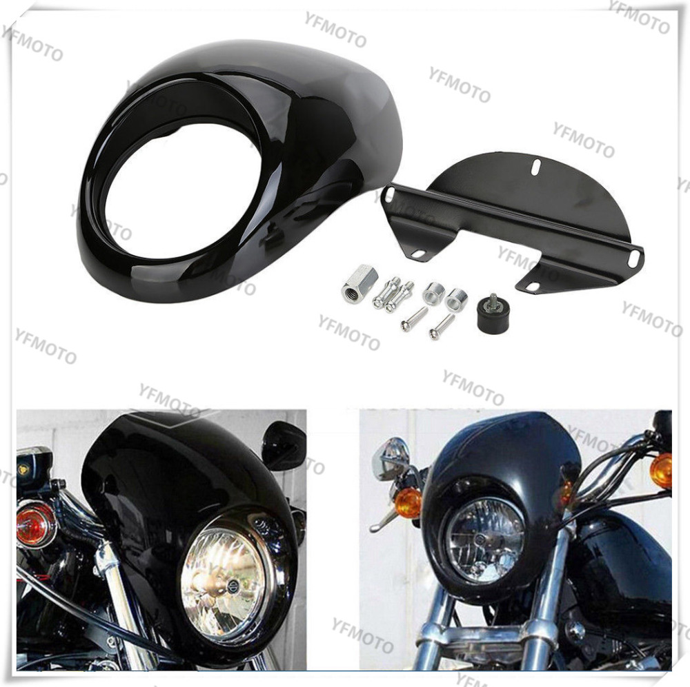 Motorcycle Black Headlight Fairing For Harley Front Fork Mount Sportster Dyna FX/XL Glide black motorcycle front