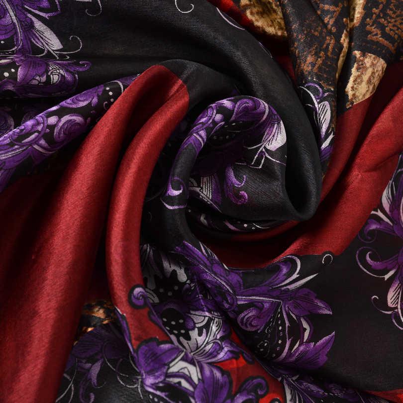 Baru Kopi Merah Kulit Ular Sutra Syal Selendang Wanita Musim Semi Musim Gugur Panjang Syal Wraps Musim Panas Musim Dingin 100% Murni Sutra Syal Cape 180*110 Cm