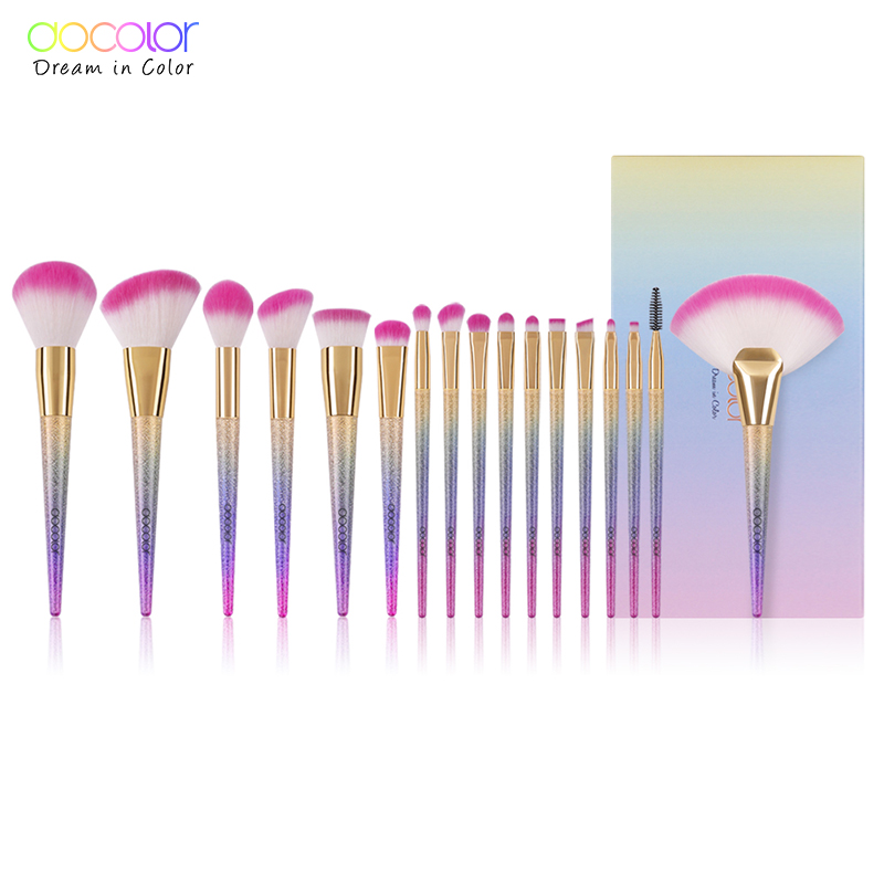 Docolor 17PCS Brushes for Makeup Professional Foundation Powder Eye Shadow Contour Fan Brushes Set Synthetic Hair Make Up Brush 2017 hot sale new arrive famous body tattoo artist brush no 10 make up contour foundation makeup brushes
