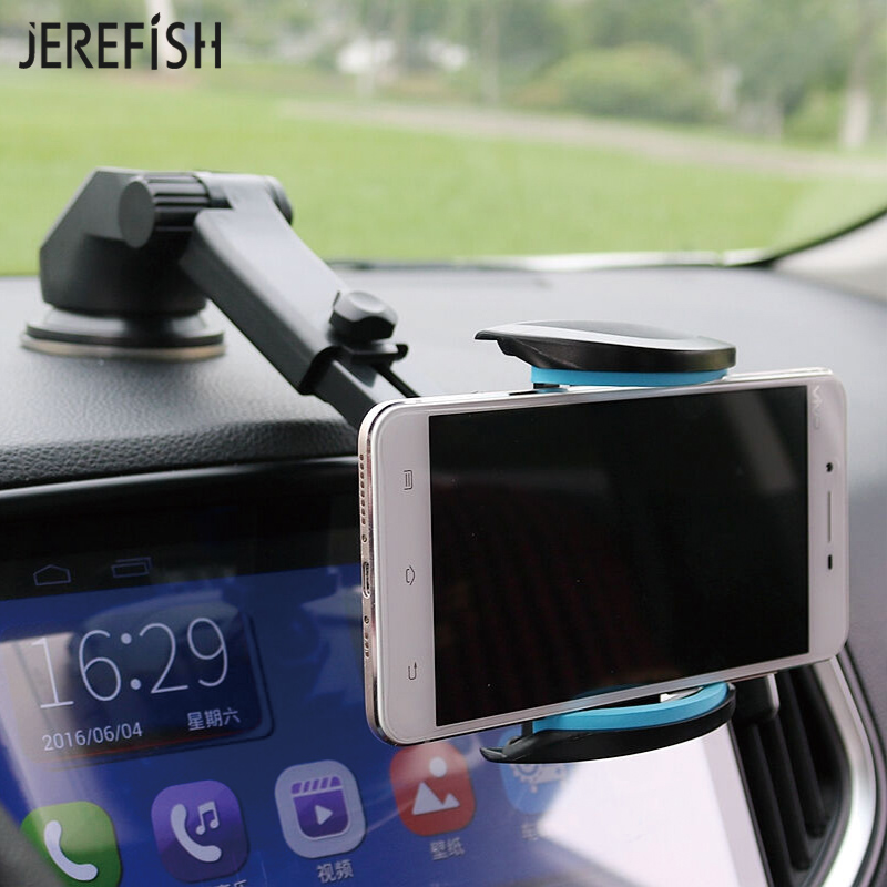 JEREFISH Car Phone Holder Washable Suction Cup Dashboard Windshield Mobile Phone Retractable Car Mount Stand for GPS Device mobile phone