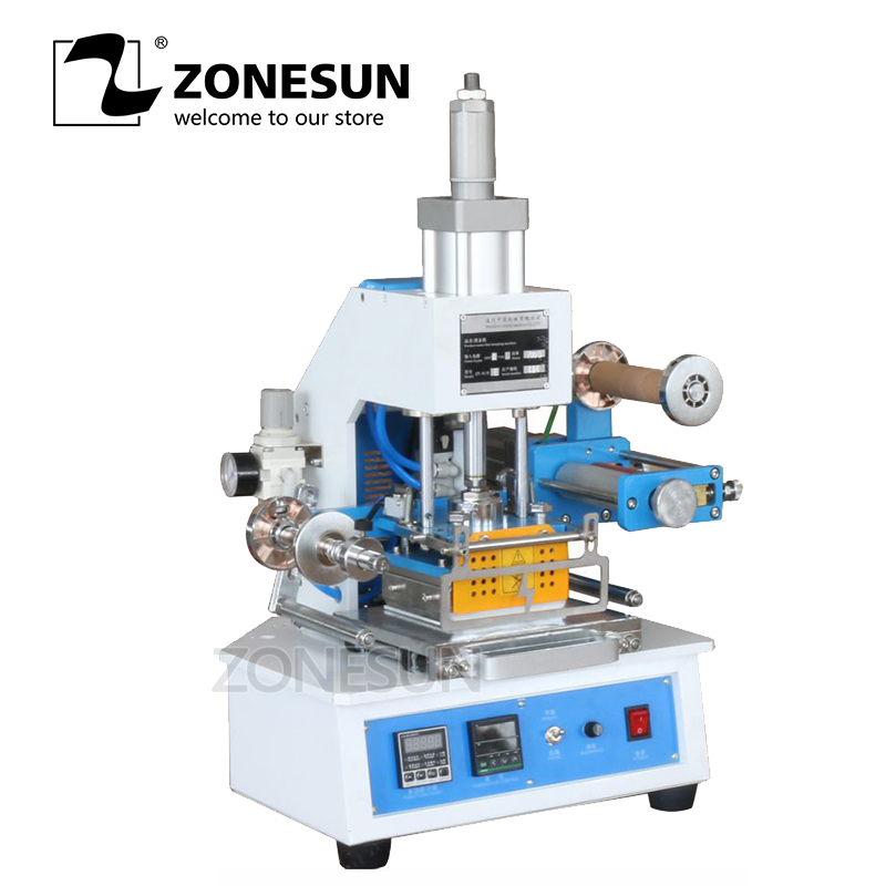ZONESUN ZY-819E Pneumatic Stamping Machine leather LOGO Creasing machine pressure words machine LOGO stampler name card stamping