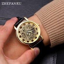 Business Skeleton Watch Men Engraving Hollow Reloj Hombre Dress Quartz Watch Leather Women Clock Relojes Mujer Luminous Pointer