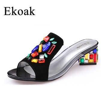 Ekoak New women High Heels rhinestone Genuine Leather Cow Suede Sandals party shoes fashion ladies women dress shoes woman - DISCOUNT ITEM  50% OFF Shoes
