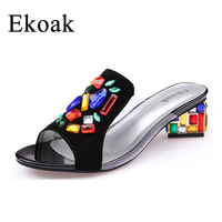 Ekoak New women High Heels rhinestone Genuine Leather Cow Suede Sandals party shoes fashion ladies women dress shoes woman