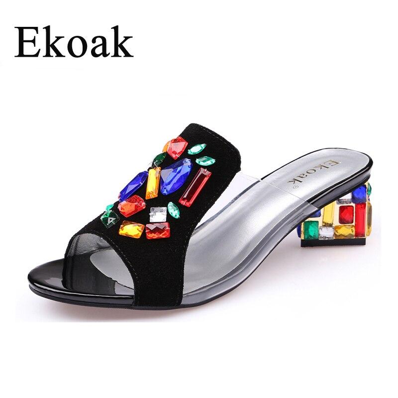 Ekoak nouvelles femmes talons hauts strass en cuir véritable vache daim sandales chaussures de fête mode dames femmes robe chaussures femme