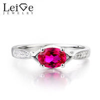 Leige Jewelry Blood Red Ruby Ring Ruby Wedding Ring Real Solid 925 Sterling Silver Oval Cut