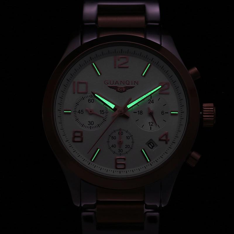 Relogio Masculino Watch Men 2019 GUANQIN Chronograph Quartz Watches Date Luminous Business Man Wrist Watch Stainless Steel Clock in Quartz Watches from Watches