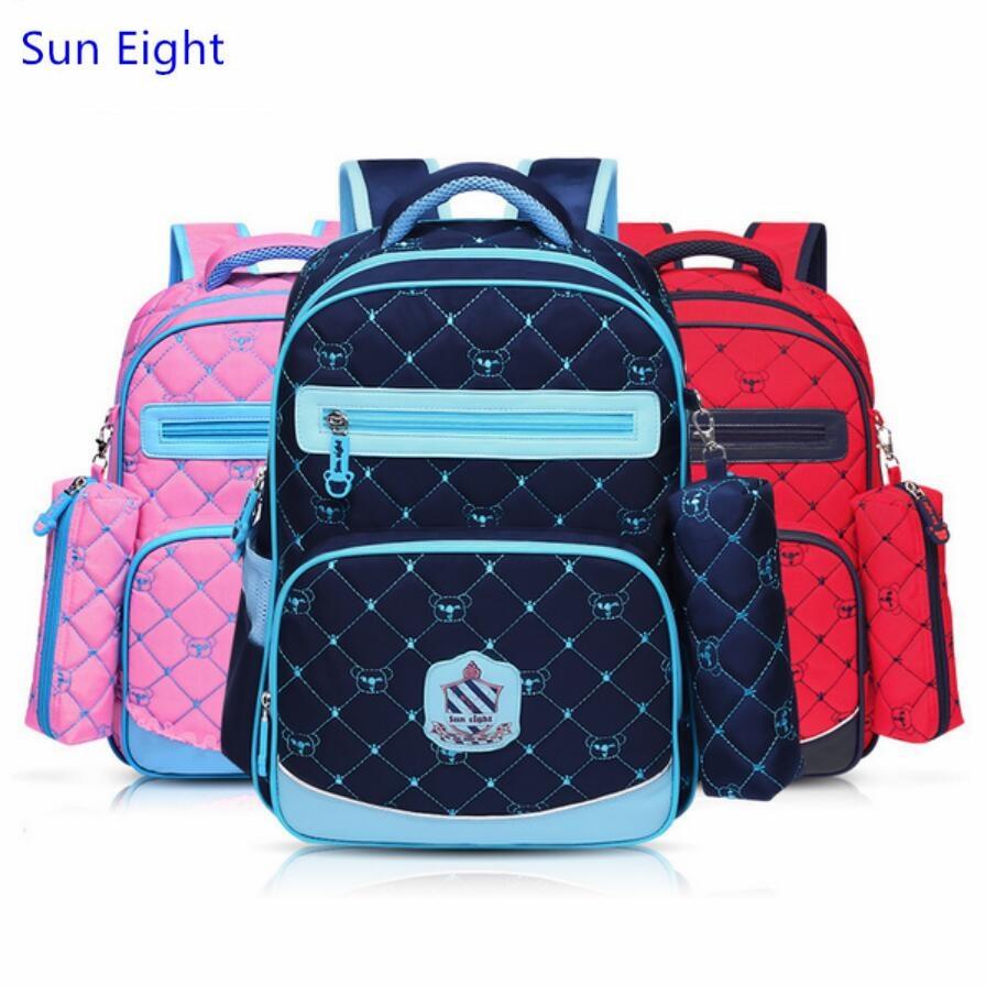 Sun Eight red plaid school bags for girls boys school backpack girl schoolbag kids bookbag pen bag school supplies wholesale