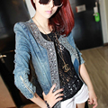 Women Casual Denim Jacket Lady Vintage Jeans Jacket Diamond Paillette Women's Denim Coat Women Motorcycle Jacket