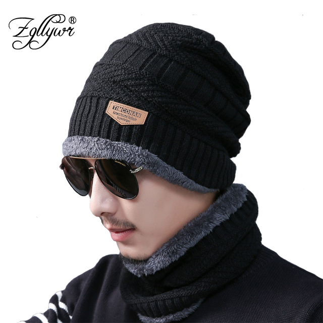 40eb4a02873c0 Zgllywr 2-Pieces Men Winter Knit Hat Circle Scarf with Fleece Lining Warm  Snow Soft Lined Thick Ski Skull Cap