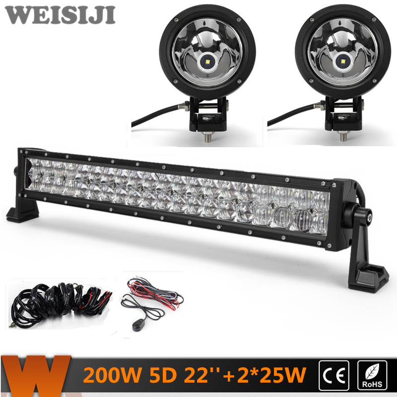 WEISIJI 200W 22'' Dual-row 5D LED Light Bar+2Pcs 25W 4*4 Offroad LED Work Lights+2Pcs Wiring Kit Sets for Jeep Truck SUV ATV UTV видеоигра бука saints row iv re elected