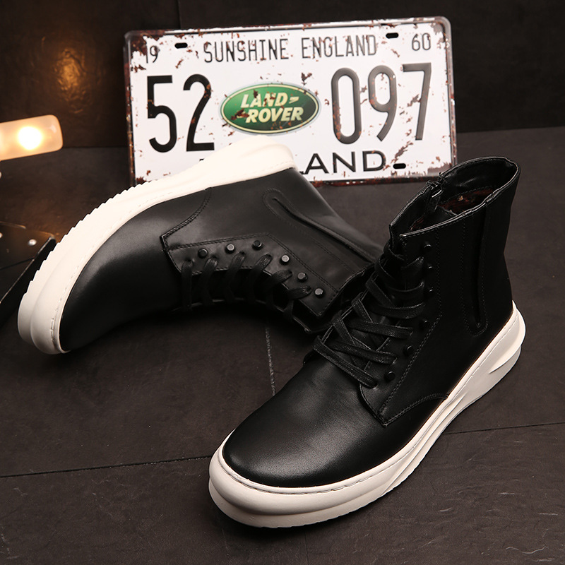 US Size 5 10 Black Studs Trendy PU Leather Lace Up Ankle Boots Men s Rocker