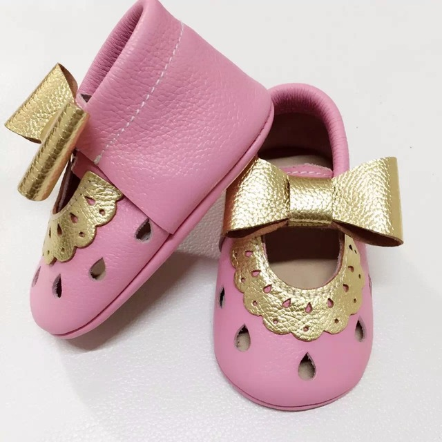 2017 new spring baby girls shoes bow genuine leather Baby Moccasins princess mary jane shoes first walkers solid toddler shoes