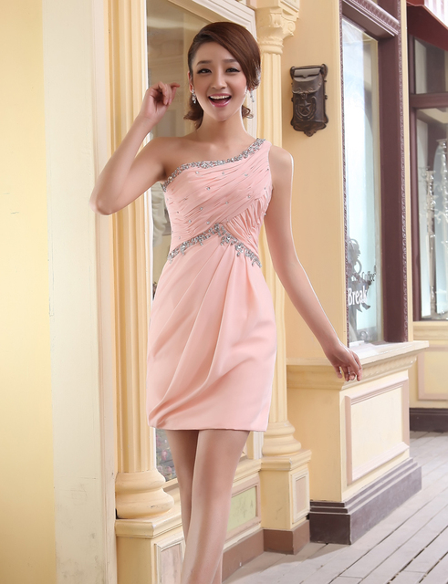 ff7597c897d Sweetheart One Shoulder Mini Bridesmaid Dress Sequin Pleated Short Light  Pink Formal Prom Party Dress