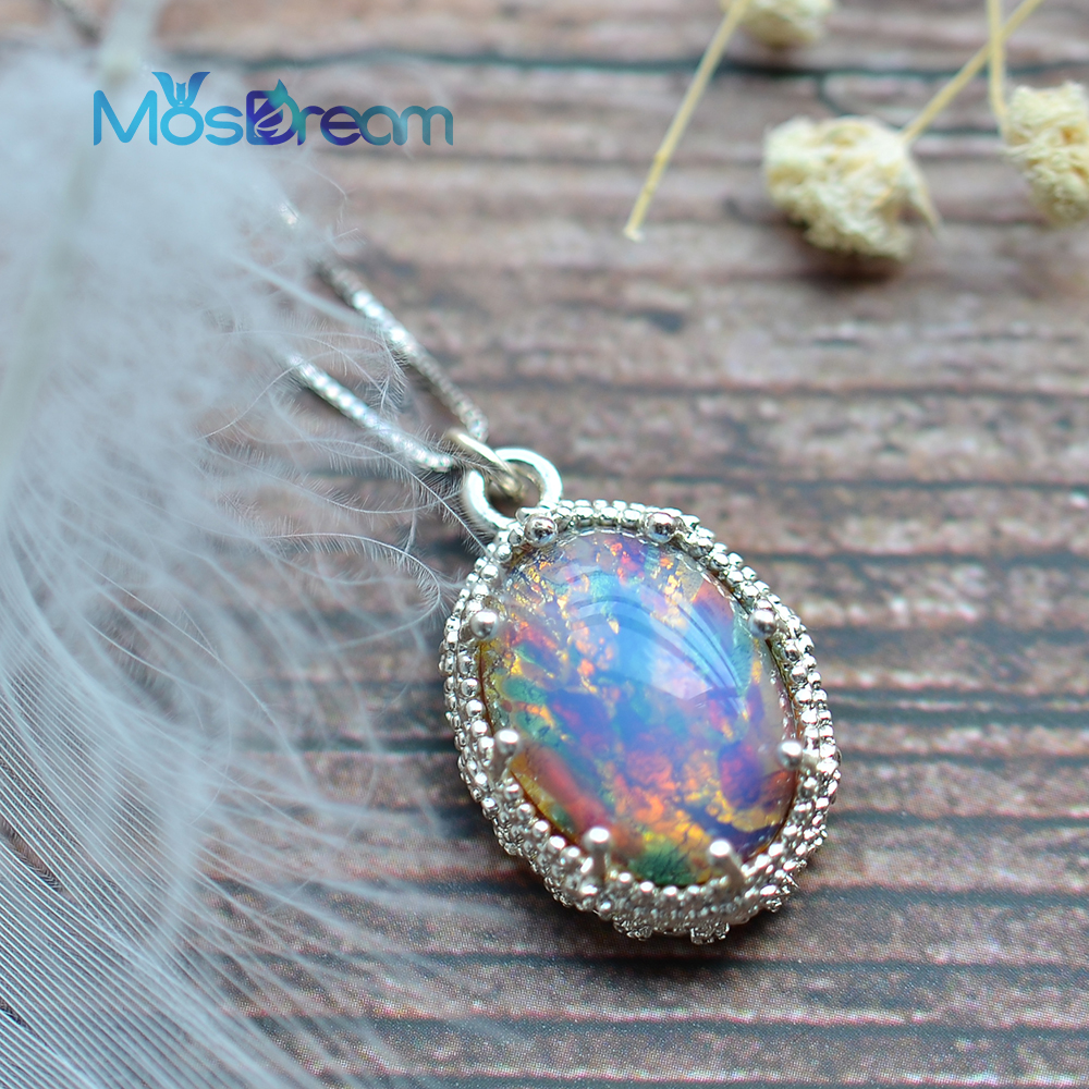 MosDream Warmth Fire Opal Pendant Necklace For Women Pink Multi Gemstone Magic Friendship Jewelry Delicate S925 Silver Necklace