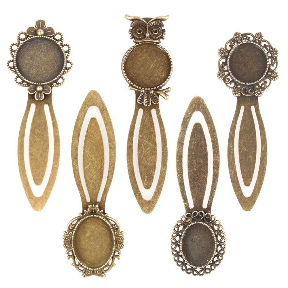 PandaHall 10pcs Iron Metal Classic Bookmark DIY Cabochon Settings Antique Bronze Color Embellishments Accessories Craft Material
