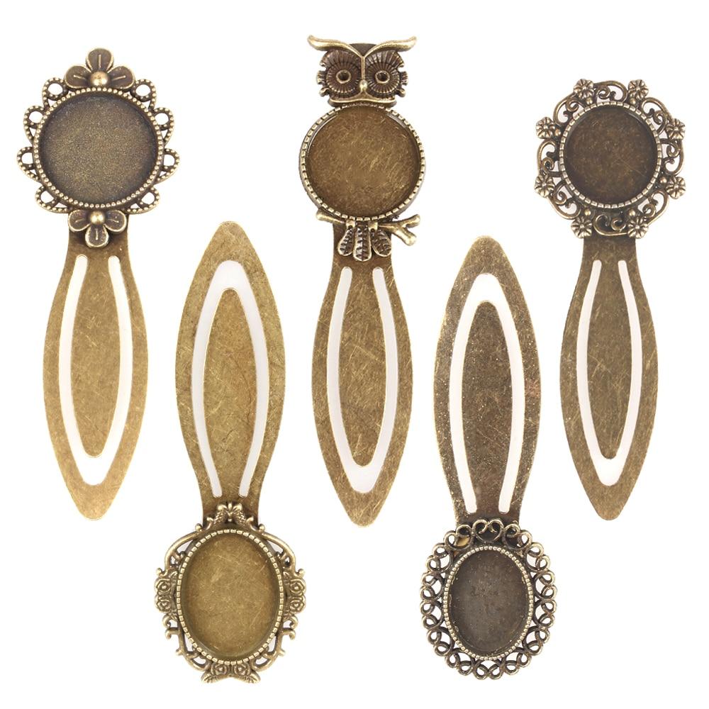 PandaHall 10pcs Iron Metal Classic Bookmark DIY Cabochon Settings Antique Bronze Color Embellishments Accessories Craft Material(China)