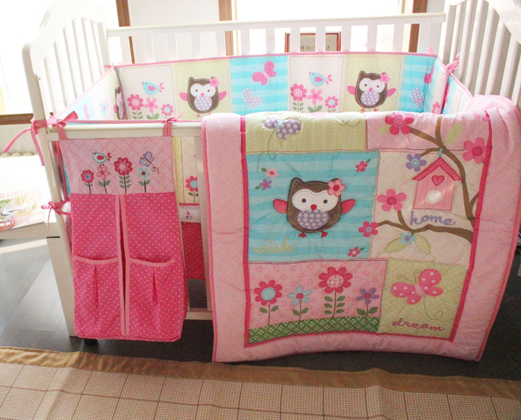 Baby Bedding Set Cotton Embroidery Owl Bird Quilt Per Bed Skirt Mattress Cover Urine