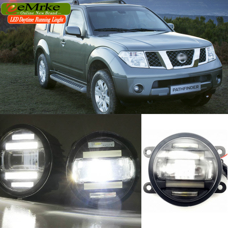 EEMRKE Car Styling for Nissan Pathfinder R51 2005-2012 2 in 1 Double LED DRL Cut-line Lens Fog Lights Daytime Running Lights for opel astra h gtc 2005 15 h11 wiring harness sockets wire connector switch 2 fog lights drl front bumper 5d lens led lamp