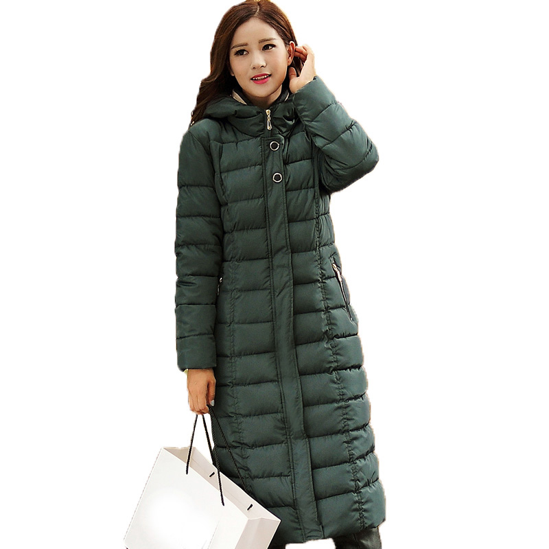 winter jacket coat x-long slim women down jacket hooded cotton-padded coat thick warm plus size 5xl wadded women overcoat kp0840 long parka women winter jacket plus size 2017 new down cotton padded coat fur collar hooded solid thicken warm overcoat qw701