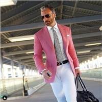 Hot Pink Suit Men Blazer Formal Men Suit With White Pants Smart Casual Business Terno Slim Fit Tuxedo Coat Jacket Costume Homme