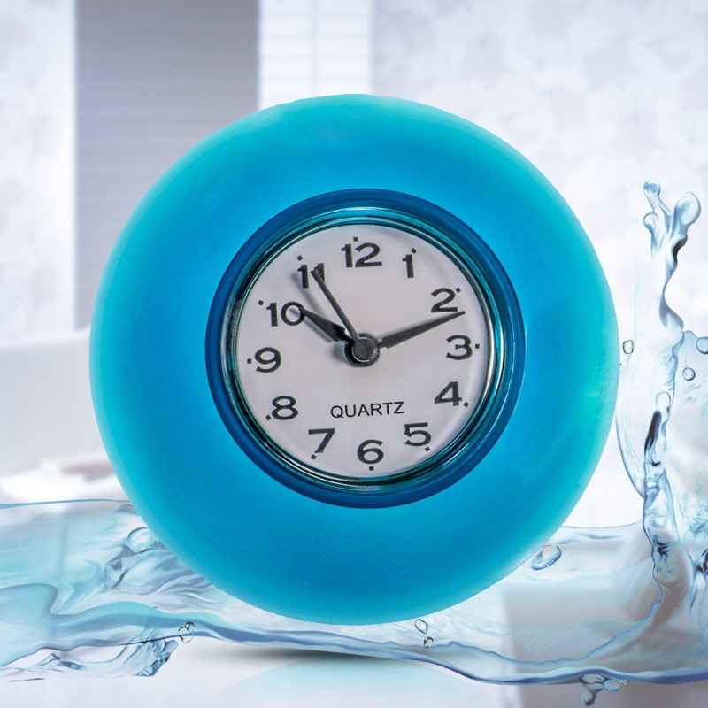 Silicone Bathroom Kitchen Shower Suction Wall Clock Multicolor Water Resistant Timer Glass Wall