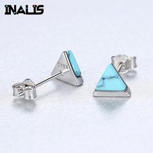 INALIS New Triangle Turquoise 925 Sterling Silver Stud Earrings for Women Jewelry Brincos Accessories pendientes de plata de ley(China)