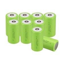 Russa Vendedor! COR Verde 10 PCS Tamanho D 5000 MAH 1.2 V Ni-mh Bateria Recarregável Subc SUB C Bateria