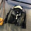 Fashion Autumn Unisex Baby Boys&Girls Jackets&Coats Soild Black Rivet Faux Leather Children Outwear Kids Leather Jacket 2-7Years