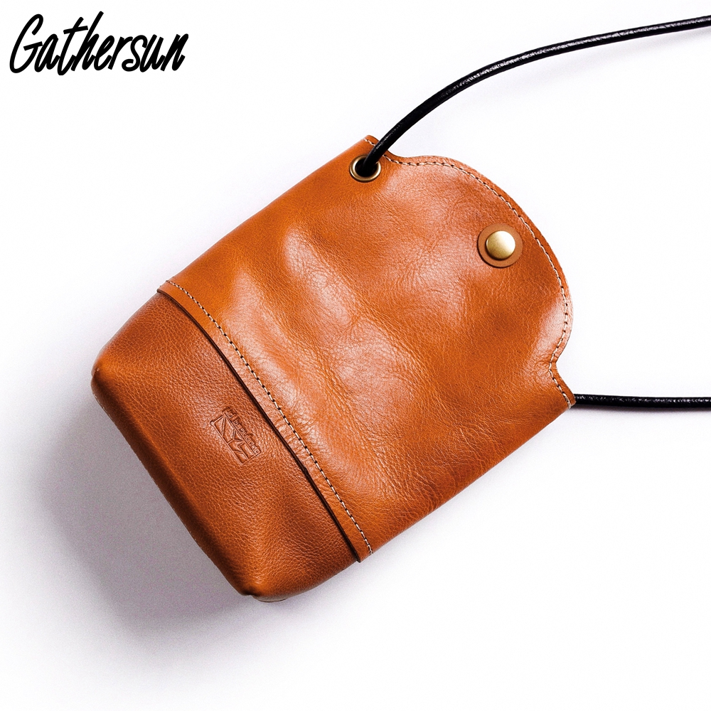 Gathersun Leather Bag for Women 2018 Italian Full Grain Vegetable Tanned Leather Cross body Bag for Lady Sling Bag Best Leather