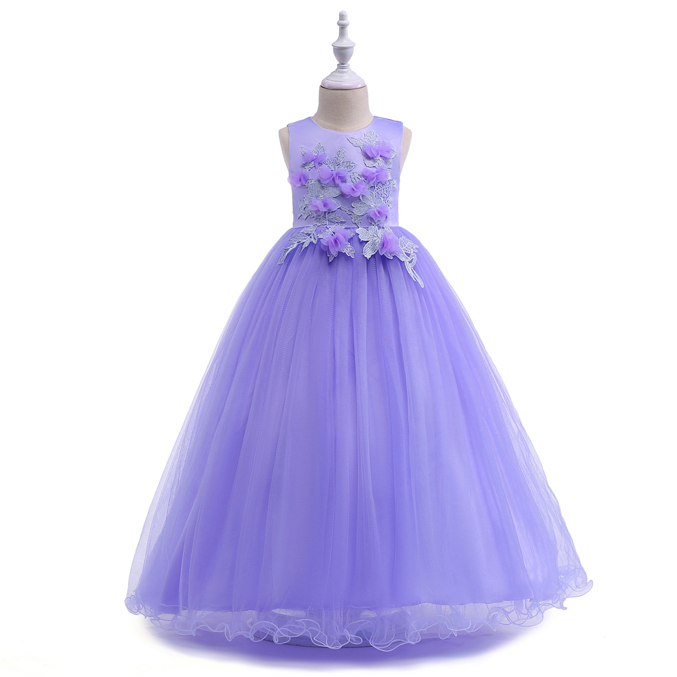Sleeveless Tulle Flower Girl Dress Purpe Kids Holy Communion Dress Purple Pageant Dresses For Princess First Communion Dresses sparkly crystals rhinestones beading flower girl dress light blue holy the first communion dresses keyhole back princess outfit