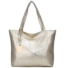 e8a1b9df78b5a7 Kunzit Krokodil Muster Weichen Frauen Leder Handtasche Silber Gold Schwarz Schulter  Tasche Große Weibliche Casual Tote