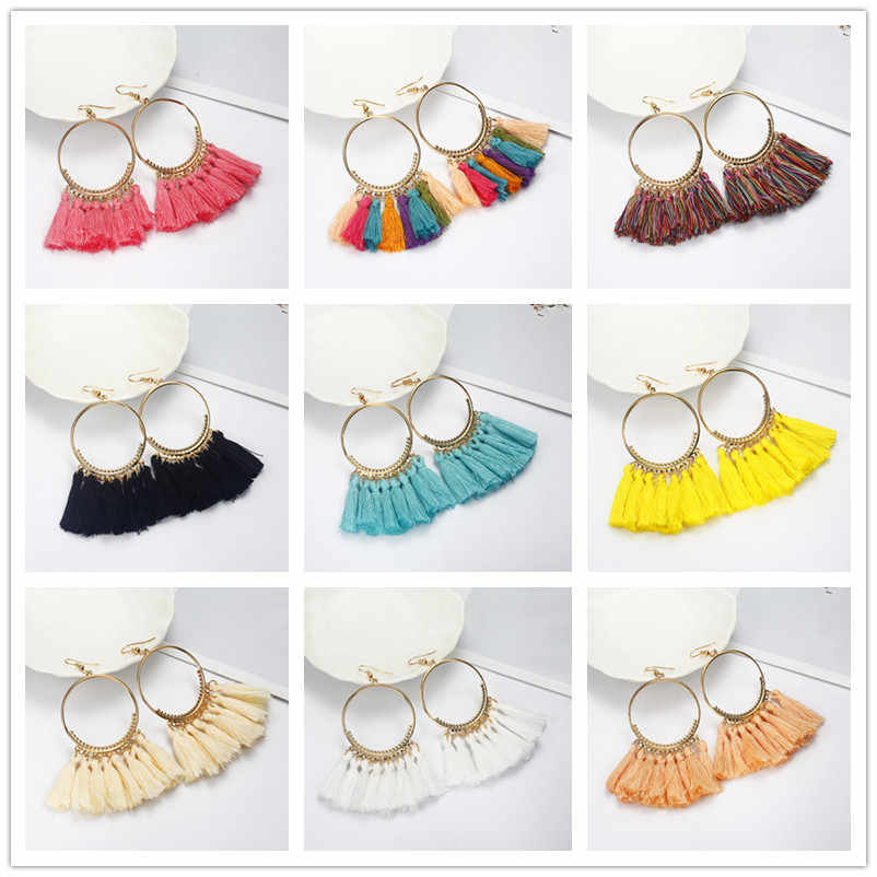 2018  Brincos Women Boho Drop Dangle 12 Colors Fringe Earring Vintage Ethnic Statement Tassel earrings fashion jewelry  e0101
