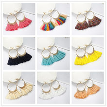 2018 Brincos Women Boho Drop Dangle 12 Colors Fringe Earring Vintage Ethnic Statement Tassel earrings fashion jewelry e0101(China)