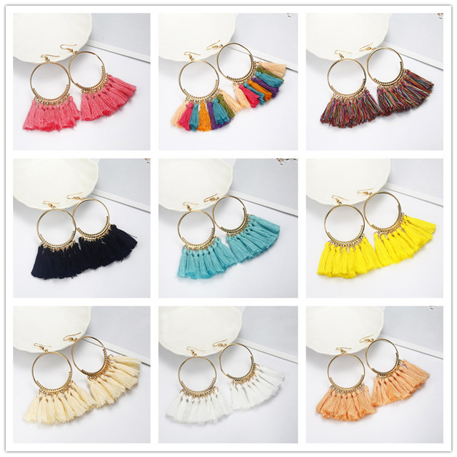 2018  Brincos Women Boho Drop Dangle 12 Colors Fringe Earring Vintage Ethnic Statement Tassel earrings fashion jewelry  e0101