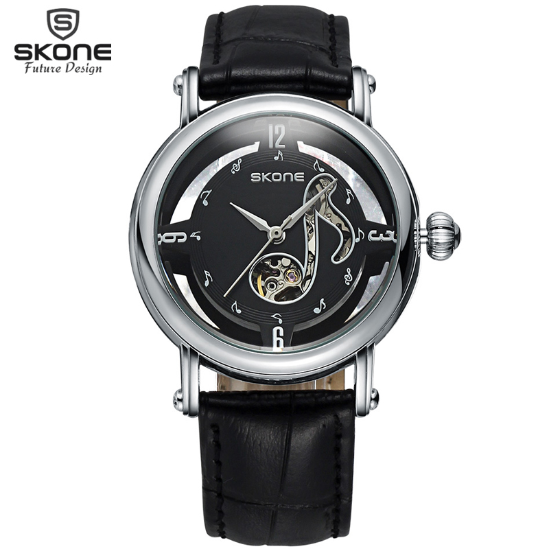ФОТО SKONE Hollow Notes Automatic Self-Wind Mechanical Watches Women Silver Case Genuine Leather Strap Skeleton Watch orologi donna