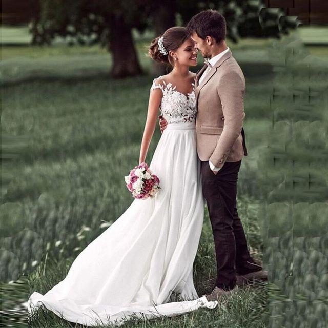 SoDigne Beach Lace Appliques Bride Dress New Cap-Sleeves Slit Side White Wedding Dresses 2020 Boho Bridal Gown vestido de noiva 2