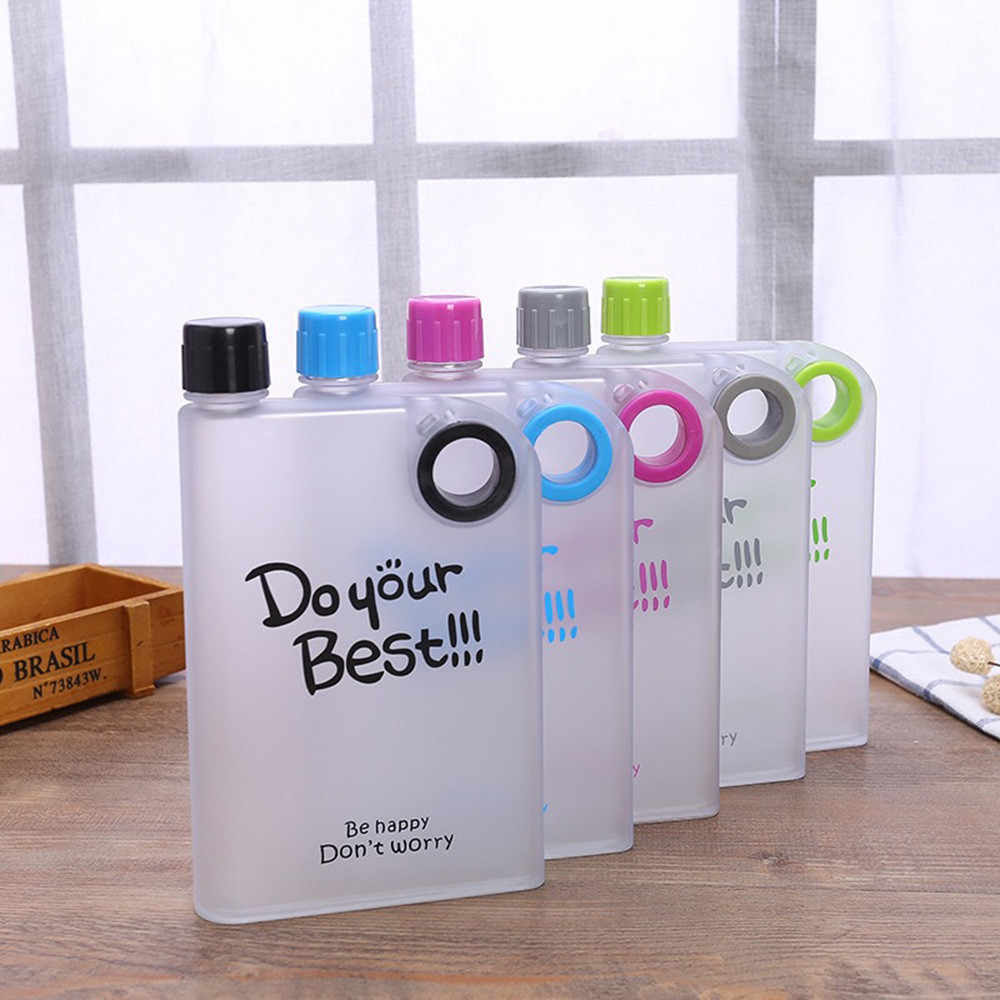 HSU Explosion Water Bottles Outdoor Travel Portable Clear Book Portable  Paper Pad Water Bottle Flat Drinks Cup Plastic Kettle