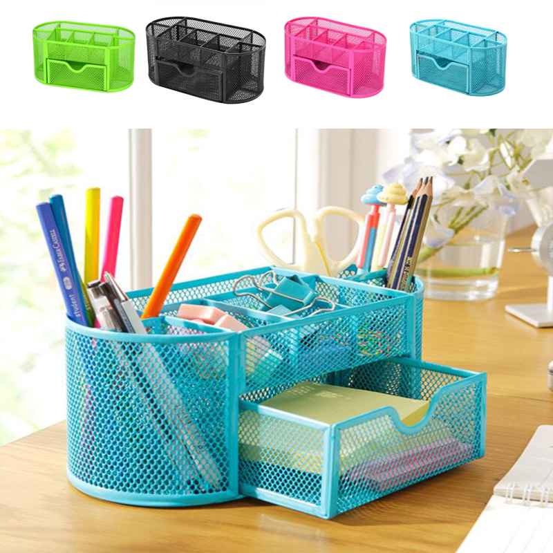 9 Cell Metal Desk Organizer Combination Mesh Desktop Pencil Pen Badge Holder Storage Box Stationery Ruler Office School Supplies